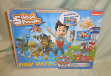 Paw Patrol 5 Wood Puzzles Kid Gifts Wooden Puzzle Game Storage Box Jigsaw Toy