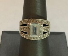 10k White Gold Ladies Ring with Light Blue Stone and Diamonds 4.7g Size 8