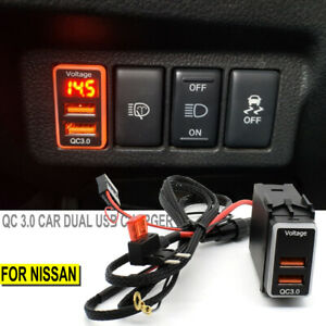 For Nissan QC3.0 Quick Charger Dual USB Phone Adapter Port LED Digital Voltmeter