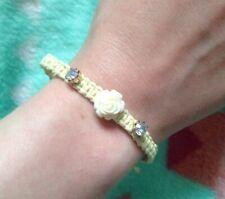 woven summer new stones festival pastel yellow rose flower friendship bracelet