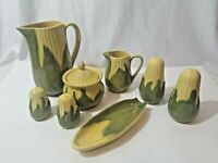 8 Piece Vintage Shawnee Corn King Pottery Set, w/ Pitcher, Sugar Bowl, Creamer