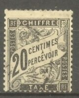 "FRANCE STAMP TIMBRE TAXE N° 17 "" TYPE DUVAL 20c NOIR "" OBLITERE TB"