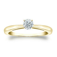 Certified 14K Yellow Gold 4-Prong Round Diamond Solitaire Ring 0.25ct G-H, I1-I2