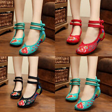 Womens Folk Chinese Embroidered Flower Flats Ankle Strap Ballet Pump Shoes  AU