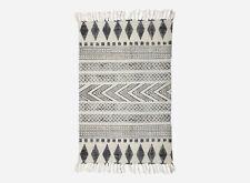 Danish Designer Geometric 100% Cotton Small Rug Runner White/Grey  Bedroom SALE