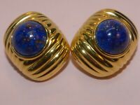 Joan Rivers signed vintage goldtone and faux lapis lazuli clip-on earrings