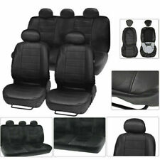 12PCS Black PU Leather Car Seat Cover SUV Front Rear Full Set Cushion Protector