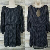 Express NWT Size M Fit & Flare Polka Dot Dress Black White Sheer Sleeve Party