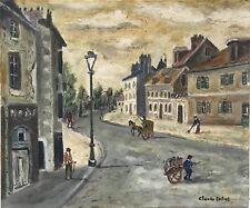 Claude Tabet huile sur toile signée art naïf misérabilisme Paris Le bourg