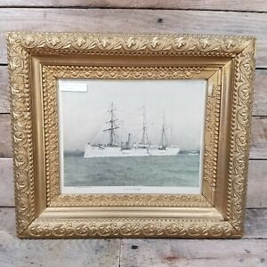 Gold Ornate Frame U.S.S. Petrel Navy Ship Small Print