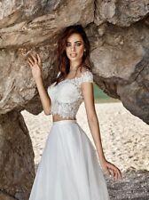 Neck Cap Sleeve Court Train Lace Tulle A-Line 2 Pieces Bridal Gown Robe de mari