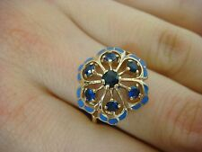 14K YELLOW GOLD ANTIQUE LADIES RING WITH SAPPHIRES AND BLUE ENAMEL, 4.2 GRAMS
