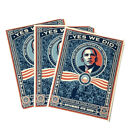 """Lot of 3 YES WE DID 2008 Stickers BARACK OBAMA Shepard Fairey Hope 4x6"""" UNUSED"""
