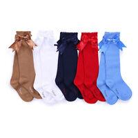 Unisex Kids Children Girls Boys Knee High Socks Bow Spanish Party School Socks