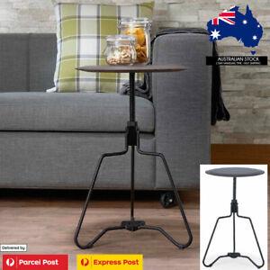 Luxury Side Tables Sofa Desk Black Spiral Height Adjustable Imitation Leather AU