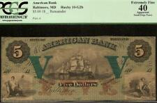 LARGE 1800s $5 AMERICAN BANK NOTE BALTIMORE MARYLAND OBSOLETE CURRENCY PCGS 40