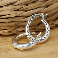 925 Sterling Silver Creole Hoop Earrings 14mm Huggie Hoops Earrings Jewellery