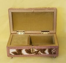 """Vintage Tapestry Jewelry Box 7"""" Long"""