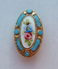 A 22mm Antique French Turquoise Floral Oval Enamel Button