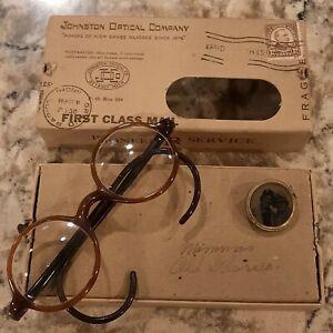 Vintage Original 1930's Black & Caramel Bakelite/Celluloid Round  Rim Eyeglasses