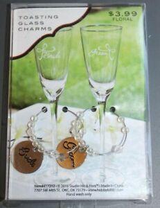 Toasting Glass Stem Charms Bride Groom Wedding Bridal Wine Champagne Set Silver