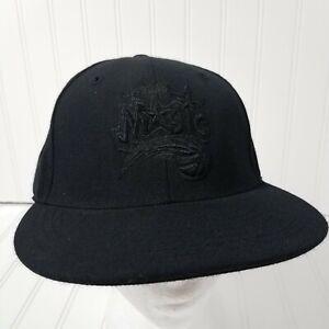 Orlando Magic Fitted Cap Size 7 1/4 Black On Black Hat Reebok NBA Basketball Hat