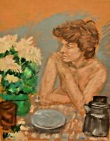 Original Vintage Signed Nude Floral Still Life Portrait Mixed Media Oil Painting