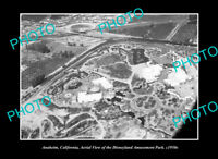 OLD POSTCARD SIZE PHOTO ANAHEIM CALIFORNIA, AERIAL VIEW OF DISNEYLAND c1950 2