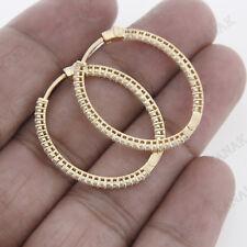 0.90 ct Natural Diamond 10k Yellow Gold Hoop Earrings for Women's