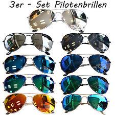 3 Stück Paar Pilotenbrille Sonnenbrille Verspiegelt Fliegerbrille Aviator Brille
