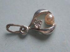 Anhänger Silber mit Stein, Kettenanhänger 800er Silber Zirkonia kleine Perle