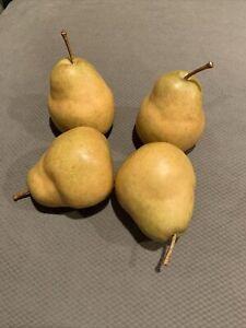 "Artificial Decorative Faux Fruit Pears Hi Quality Realistic Set Of 4 - 4 1/2"""