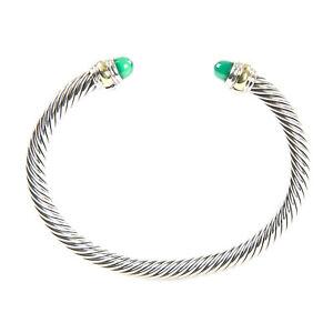DAVID YURMAN Cable Classics Bracelet Green Onyx & 14K Gold 5mm  NEW