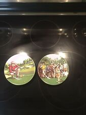 Two Philippe Deshoulieres Limoges France Collector Porcelain Golf Plates