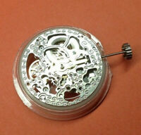 GENTS AUTOMATIC MECHANICAL SKELETON WATCH MOVEMENT - ROTARY - N.O.S - SILVER