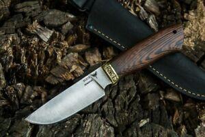 "Russia Hunting Knife ""Mushroomer2"" Forged Stainless Steel Wenge Brass Handmade"
