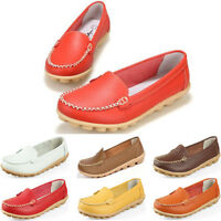 NEW Womens Ladies Soft Leather Work Casual Ballet Slip On Loafer Flat Shoes
