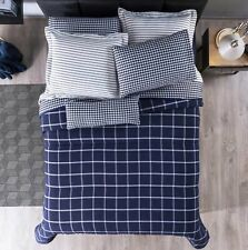 CHICAGO SQUARES REVERSIBLE COMFORTER SET 6 PCS QUEEN SIZE PRE-DYED FABRIC