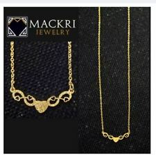 MACKRI Gold Stainless Steel Chain Necklace with Sparkling Infinity Hearts Pendan
