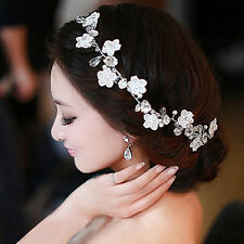 Wedding Bridal Headband Handmade Lace Flower Faux Pearl Crystal Tiara Headdress