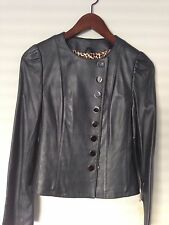 Sara Berman Blue Leather Jacket Military Style Size S