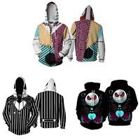 The Nightmare Before Christmas Jack Skellington Hoodie Sweatshirt Zip up Jacket