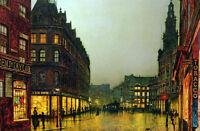 Hand painted art oil painting John Atkinson beautiful street scene cityscape art