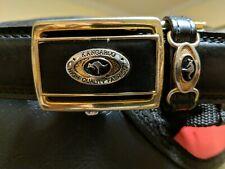 Vintage KANGAROO brand High Quality Fashion Belt - Black - Gold Tone Buckle