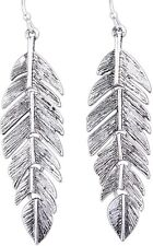Rain 2.75' Silver-plated Feather Link Dangle Earrings