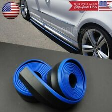 2 x 8FT Black + Blue Trim EZ Fit Bottom Line Side Skirt Lip For Mazda Subaru