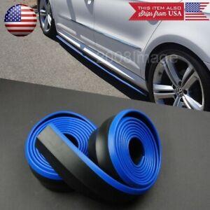2 x 8FT Black + Blue Trim EZ Fit Bottom Line Side Skirt Lip For Mazda Subaru