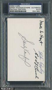Sandy Koufax HOF Hoyt Appling Roush Multi Signed Index Card PSA PSA/DNA AUTO