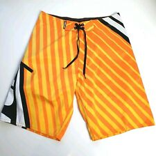HOTOCEAN sz 32 Mens Sunburst Orange Yellow Black Embroidered Logo Board Shorts