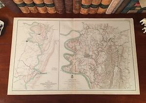 Original Antique Civil War Map ANTIETAM Virginia HARPER'S FERRY Sharpsburg VA